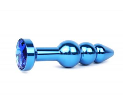 АНАЛЬНАЯ ВТУЛКА СИНЯЯ, L 113 мм D 22x25x29 мм, вес 100г, цвет кристалла синий