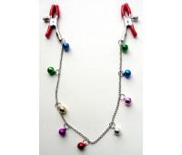 ЗАЖИМЫ ДЛЯ СОСКОВ с цепочкой 9 шариков, цвет в ассортименте, (металл)