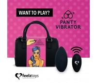 Вибратор в трусики FeelzToys Panty Vibrator Black с пультом ДУ, 6 режимов работы, сумочка-чехол