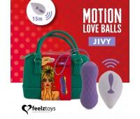 Вагинальные шарики с массажем и вибрацией FeelzToys Motion Love Balls Jivy с пультом ДУ, 7 режимов