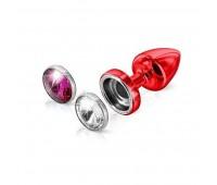 Анальная пробка со сменными стразами Diogol Anni Magnet Red Кристалл/Рубин 30мм
