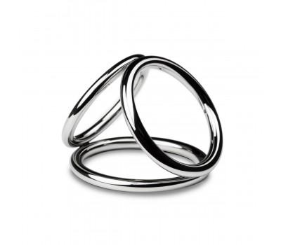 Тройное эрекционное кольцо Sinner Gear Unbendable - Triad Chamber Metal Cock and Ball Ring - Medium