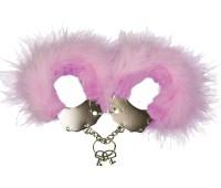 Наручники металлические Adrien Lastic Handcuffs Pink (разрез на упаковке)