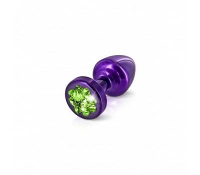 Анальная пробка со стразом Diogol Anni R Clover Purple Изумруд 25мм