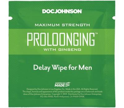 Пролонгирующая салфетка Doc Johnson Delay Wipe For Men с экстрактом женьшеня