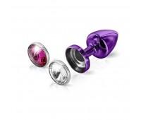 Анальная пробка со сменными стразами Diogol Anni Magnet Purple Кристалл/Рубин 30мм